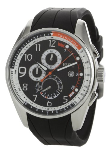 Hugo Boss Men's 1512366 Chronograph Black Dial Black Rubber Watch