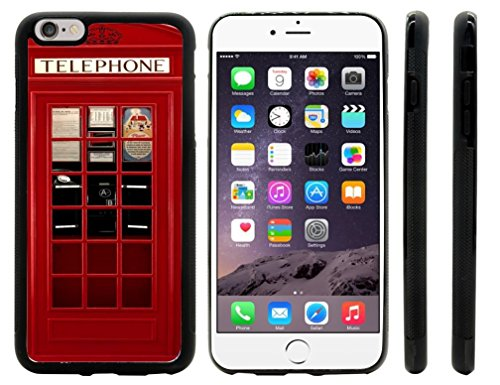 Rikki Knight British Phone Booth Design iPhone 6 Plus & 6s Plus Hybrid Case Cover (Black Rubber with front bumper protection) for Apple iPhone 6 Plus & 6s Plus (Iphone 6 Plus Case British compare prices)