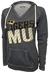 NCAA Missouri Tigers Women's Sassy V-Neck Pullover, Lt. Charcoal, X-Small