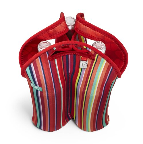 Built Original Designer Neoprene Wine/Water Bottle Tote, 3-Bottle, Stripe Number 10 (3B-Stn) front-224249
