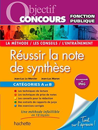 Objectif Concours Réussir La Note De Synthèse