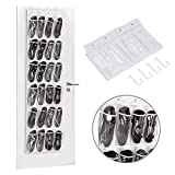Over the Door Shoe Organizer, MaidMAX 24 Pockets Single-sided Hanging Shoe Storage Rack with Hooks, White