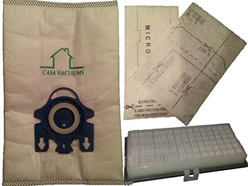 Miele GN Bags 3D Efficiency 10 Bags + 1 AH-30 H.E.P.A + 4 Filters C1 S2 S400 S600 Bundle, Replaces part #'s 10123210 & 09616270. by Casa Vacuums (Miele Gn S400i compare prices)