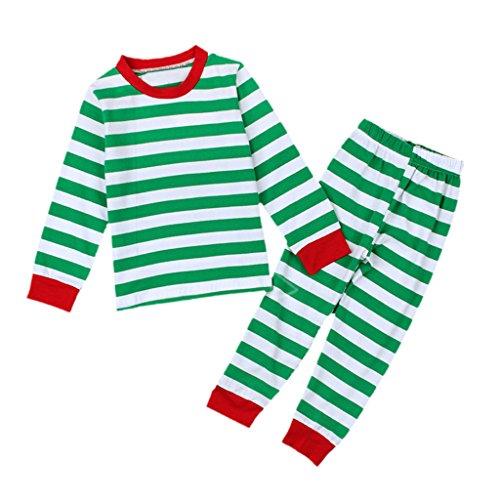 Enfant-Unisexe-2pcs-Nol-Vtement-de-Nuit-Rayur-Manches-Longues-Coton-Bio-Taille-Confortable