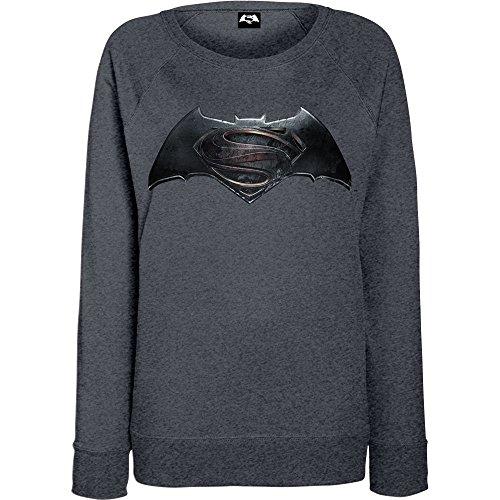 DC Comics Donna Batman v Superman Logo Felpa Medium Scuro Heather