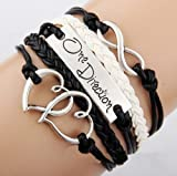 EmBest Antique Silver Charm One Direction Infinity Heart Braided Black cord Leather Mixed Bracelet Wristbands Xmas Gift
