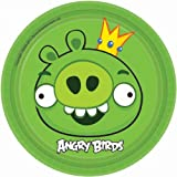 "Angry Birds Dessert Plates 7"" Round (8) Birthday Party Supplies"