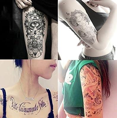 Dalin 4 Sheets Fashion Temporary Tattoos, Koi Fish, Words, Lady