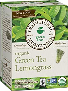 Traditional Medicinals, Organic Green Tea with Lemongrass, 16 count wrapped tea bags (pack of 6)