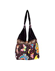 Womaniya Canvas Black Handbag For Women(Size-32 Cm X 32 Cm X 10 Cm) - B00SJ1I608