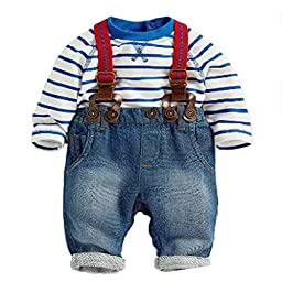 Walant Summer Little Boys Overall Set Jeans Bib Pants Striped Top Outfit (2-5 Years)