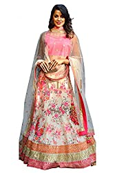 Silk Net and Bhagalpuri Party Wear Lehenga Choli in Pink and Off White Colour