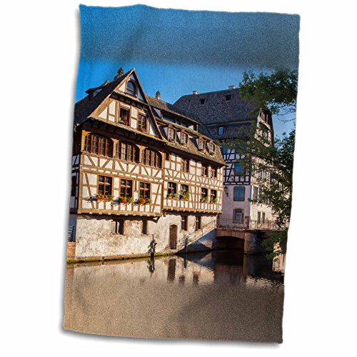 3dRose Danita Delimont - Brian Jannsen - Rivers - Buildings along the canal of River Lil in Strasbourg, Alsace, France. - 12x18 Towel (twl_187340_1) (Lil Of France compare prices)