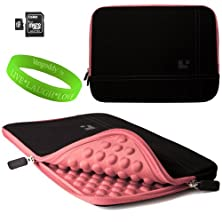 buy 15 Inch Notebook Accessories By Sumaclife Onyx With New York Pink Trim Drumm Neoprene Sleeve Carrying Case For Dell Xps 15 (Including Z Models) 15 Inch Notebooks + 16Gb Micro Sd Card And Adaptor + Vangoddy Live+Laugh+Love Wristband