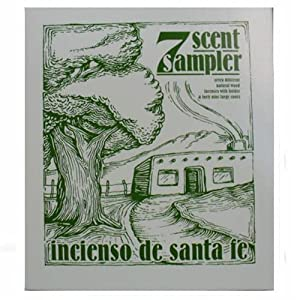 7 SCENT SAMPLER - NATURAL WOODINCENSES WITH HOLDER AND FORTY NINE BRICKS