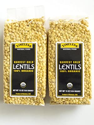 Certified 100% Organic Harvest Gold Lentils Montana Pack of 2 454 g 16 oz each by Timeless Natural Food