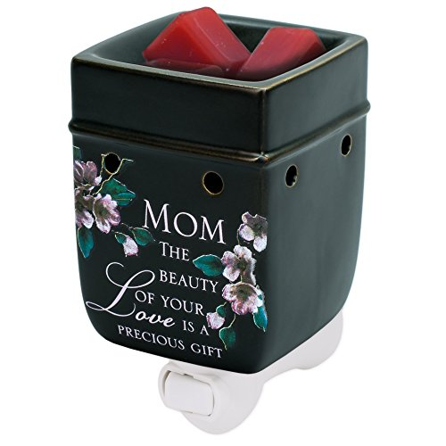 Mom Beauty Love Black Ceramic Stoneware Electric Plug-in Outlet Wax and Oil Warmer