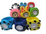 5x kids children's slap on snap silicone band Mickey, Nemo, bees, frog, panda, bunny wrist watches for party gift bags by Fat-catz