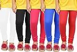 Goodtry Girls Viscose Leggings Pack of 5-Black,White,Red,Dark Pink,Royal Blue