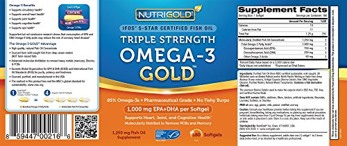 Nutrigold triple strength omega 3 gold fish oil supplement for Ifos fish oil