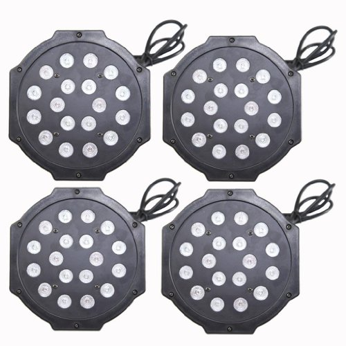 Yiscor Stage Lighting Led Par Light 18Leds 54W Dmx512 For Disco Dj Club Show Home Garden Xmas Christmas Birthday Party Effect (Pack Of 4)