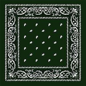 Hunter Green Paisley Bandanas - Dozen Packed 22X22 (12 Pack) [Misc.]