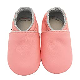 Sayoyo Lowest Best Baby Soft Sole Prewalkers Skid-resistant Baby Toddler Shoes Cowhide Shoes (12-18 months, Pink)