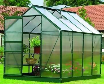 Gardman 8' x 6' Aluminium Garden Greenhouse Frame , polycarbonate pack, galvanised base, base anchors and assembly tool