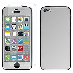 """atFoliX Designfolie """"FX-Chrome-Glossy-Silver"""" für Apple iPhone 5S - Displayschutzfolie inklusive"""