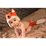 Pooqdo Fashion Newborn Baby Girl Boy Knit Crochet Clothes Beanie Hat Outfit Photo Props Fox Design