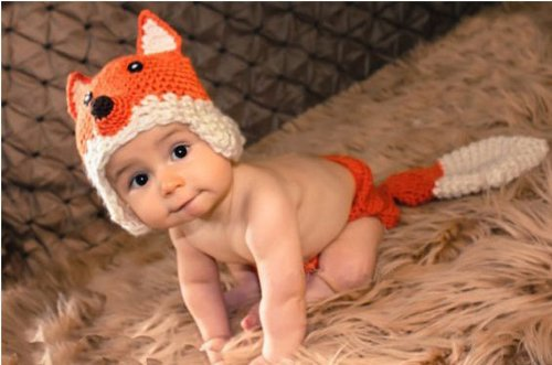 Pooqdo Fashion Newborn Baby Girl Boy Knit Crochet Clothes Beanie Hat Outfit Photo Props Fox Design
