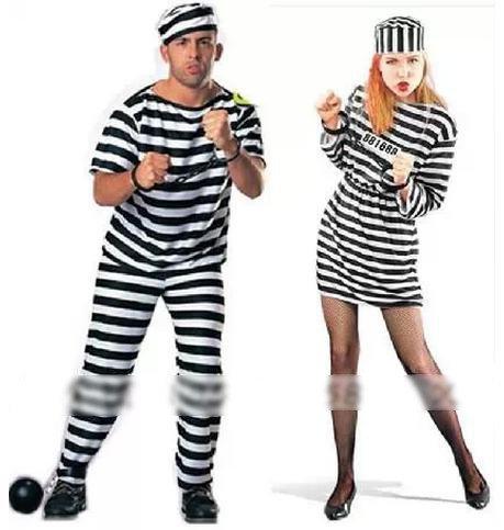 5分で変身! 手錠 付き 囚人 服 コスチューム /男性 女性 用 コスプレ 衣装 仮装 (男性)