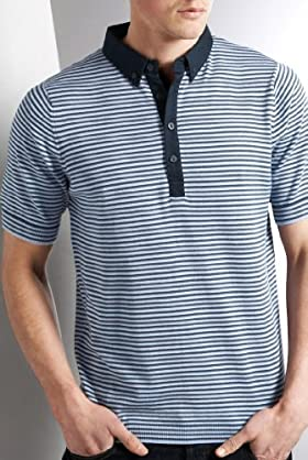Autograph Short Sleeve Stripe Polo Shirt [T30 -0133a-S-LCTB]