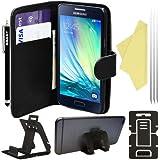 BAAS® Samsung Galaxy A3 - Etui Housse Coque en Cuir Portefeuille + 2 x Film de Protection d'Ecran + Stylet Pour Ecran Tactile + Support de Bureau