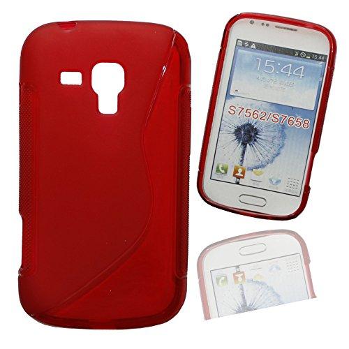 Silikon Case Hülle Etui Handytasche Handykondom Back Cover in rot für Samsung Galaxy Trend GT-S7560 / S Duos GT-S7562 / Plus GT-S7580 / S Duos 2 GT-S7582 inkl. World-of-Technik Touchpen