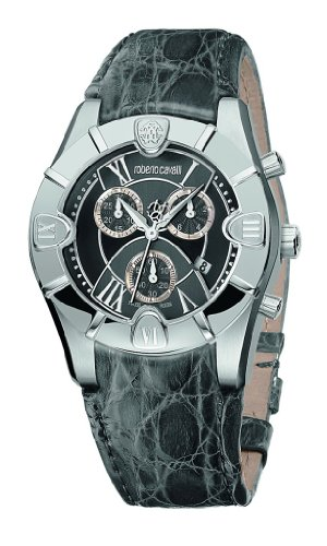 Roberto Cavalli Unisex Diamond Chronograph Watch R7251616155 with Grey Dial, Crocodile Strap and Stainless Steel Case