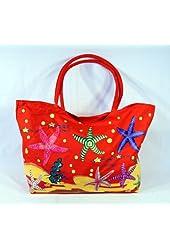 "Waterproof Jumbo Red Canvas Beach Tote Bag Sea Starfish Design Zipper Closure 24 X 15 X 6"""