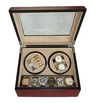 TimelyBuys 4 + 6 Quad Cherry Wood Automatic Watch Winder & Storage Case