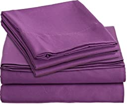 Clara Clark Bright Colored Bedding Colortastic Juvenile Series Complete DUVET COVER SET, Kids, Children and Teens, Boys and Girls Personal Microfiber Soft and Easy Care - Full Size, Striking Purple Color