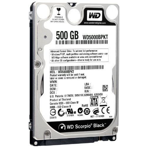 Western Digital 500GB SATA 16MB 2.5 inch Internal Hard Drive – Scorpio Black