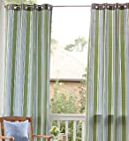 "106""L Olefin Outdoor Grommet-Top Curtain Panel, in Blue Stripe"