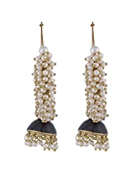 The Jewelbox Pearl Blue Enamel Gold Plated Jhumki Bali Earring