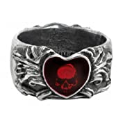 Broken Heart Ring with Rose Skull by Alchemy Gothic
