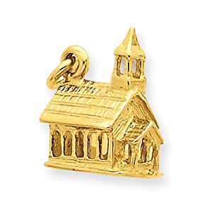14k Yellow Gold 3-d Church Charm