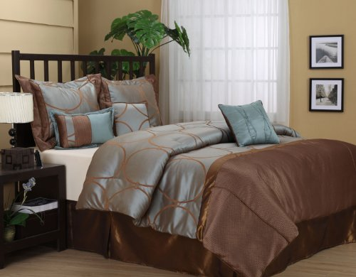 Nanshing Annna Queen 7-Piece Jacquard Comforter Set, Aqua/Chocolate
