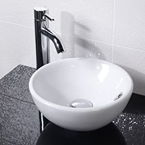 Countertop Bathroom Hand Wash Basin Bowl   Surface Mounted, En Suite and Cloakroom, Modern Compact Ceramic Designer Vessel Sink. Dimensions   Width  310mm, Depth  310mm, Height  140mm       Customer review and more information