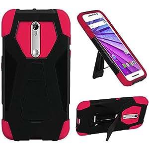 HR Wireless Carrying Case for Motorola Moto G 2015 3rd Gen XT1540 XT1548 - Retail Packaging - Black/Hot Pink