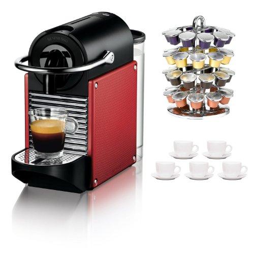 Nespresso D60 Pixie Dark Red Carmine Espresso Machine Bundle + 40 Capsule Coffee Carousel + Espresso Cups & Saucers Set