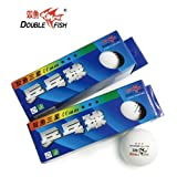 Patty Double Fish 3 Star 40mm White Table Tennis Balls, Tournament Ping Pong Balls, for Professional Training and Common Match 2 Pack (3 Balls in One Pack)