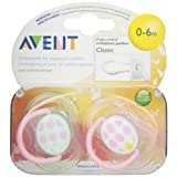 Avent BPA Free Fashion Pacifiers, 0 to 6 Months, 2-Pack